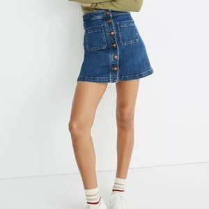 NWT MADEWELL Denim A-Line Mini Skirt Patch Pocket